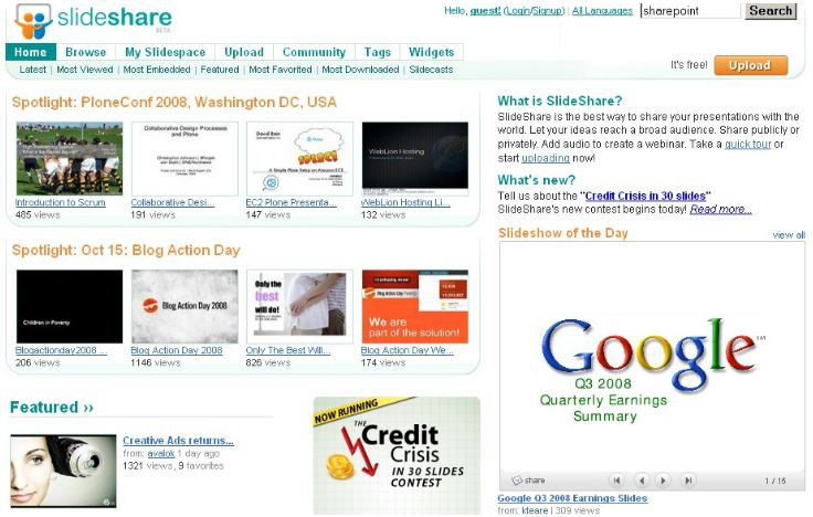 Website tải tài liệu SlideShare.net