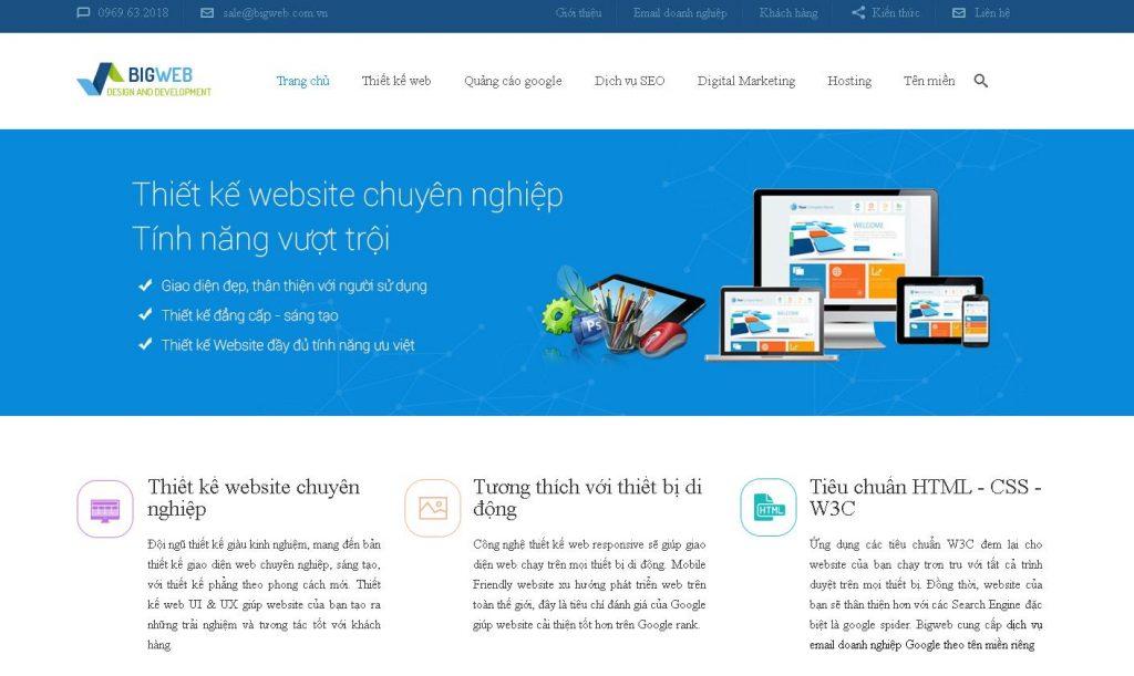 Dịch vụ thiết kế trang web spa giá rẻ BIGWEB